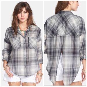 Split back plaid shirt by Free People